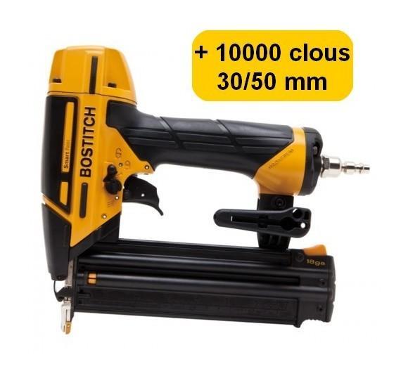 BOSTITCH BT1855SP-E CLOUEUR DE FINITION + 10000 CLOUS 18GA (5000 CLOUS 30MM + 5000 CLOUS 50MM)