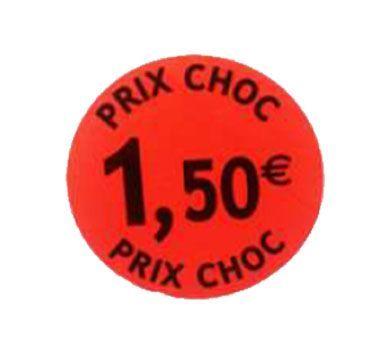 étiquette adhésive 1.50eur prix choc
