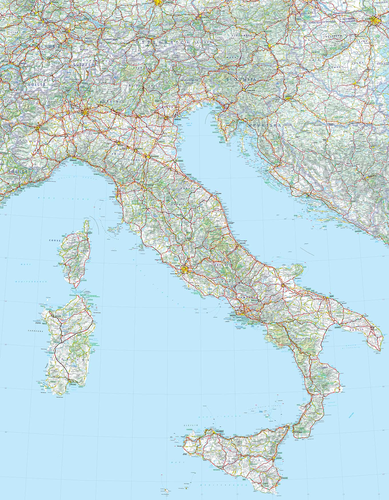 Carte Alsace Plastifiee.Carte D Italie Michelin