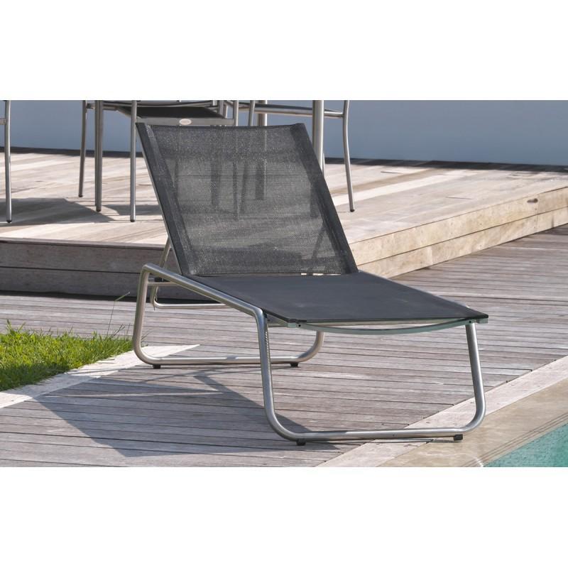 Chaise longue en textil ne noir et inox comparer les prix for Chaise longue textilene