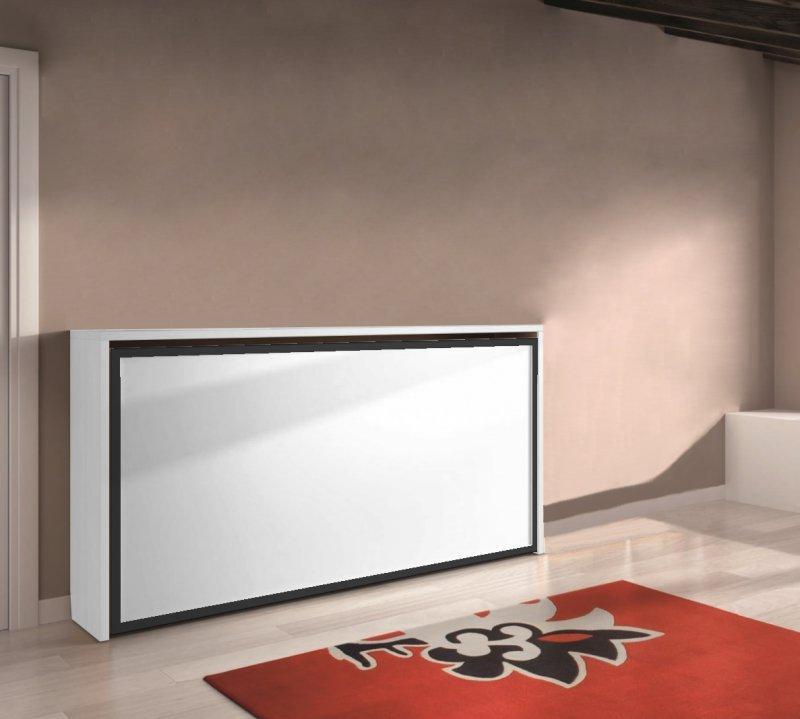 armoire lit transversale city blanc encadrement noir couchage 90 22 200cm. Black Bedroom Furniture Sets. Home Design Ideas