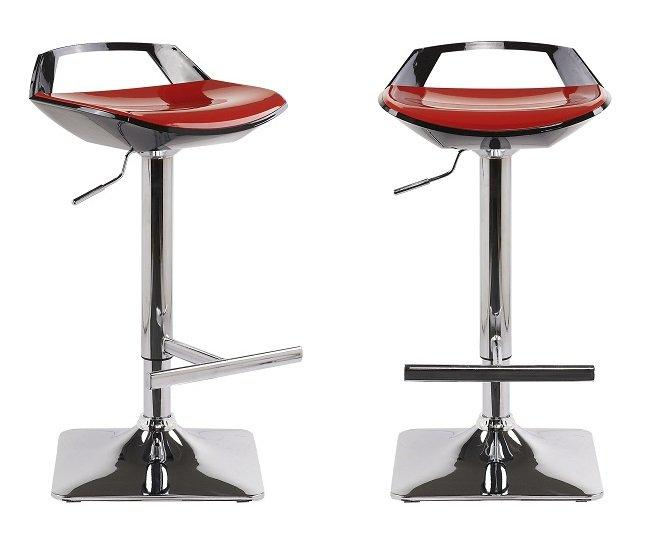 lot de 2 tabourets chaises de bar reglables ovni noir rouge. Black Bedroom Furniture Sets. Home Design Ideas