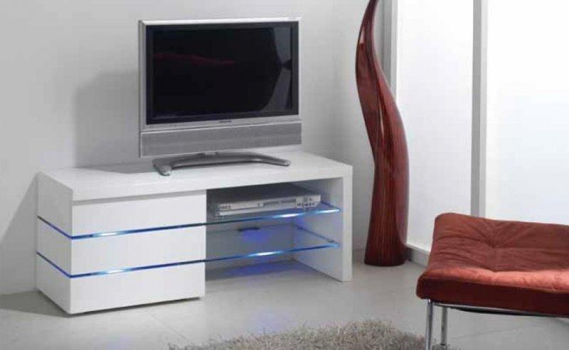 Meuble tv leon blanc brillant et lumiere led - Meuble tv laque blanc brillant ...