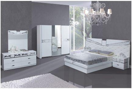 Chambre A Coucher Complete Laque Blanc Et Chrome