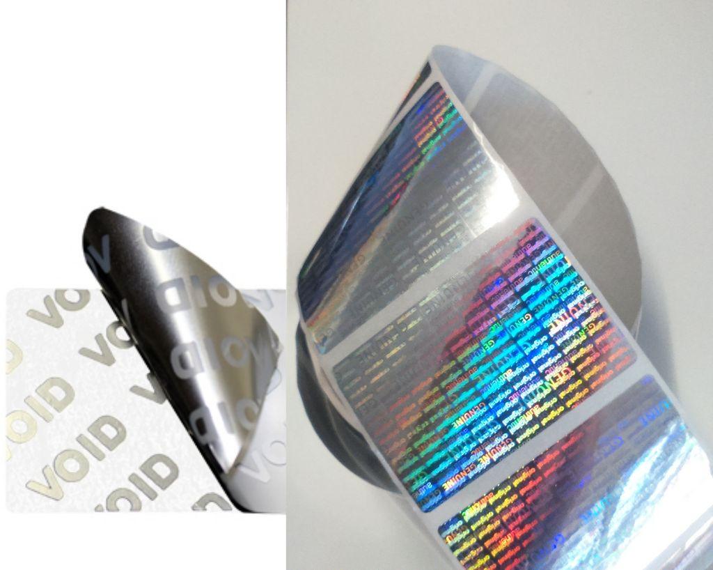 étiquette de sécurité, d'inviolabilité hologramme et void