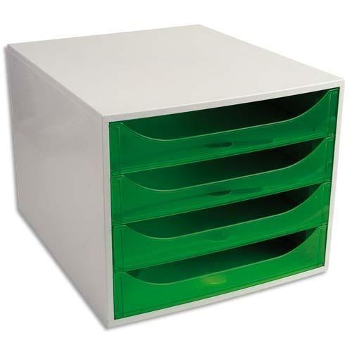 Neutre module de classement eco 4 tiroirs, gris/vert translucide - dim. : l28,4 x h23,4 x p34,8 cm