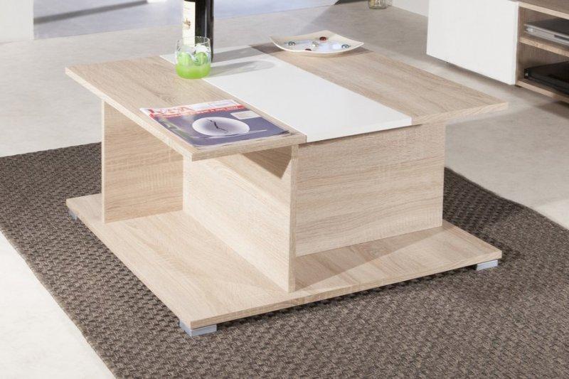 Woody table basse en chene avec rangements plateau - Table basse amovible ...