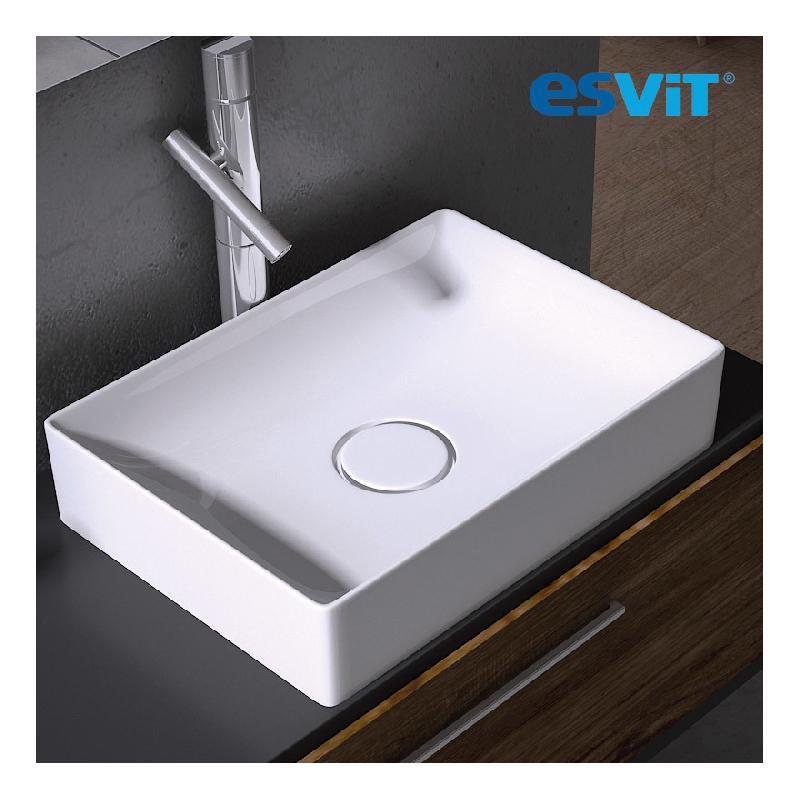 vasque poser rectangulaire 50 cm en c ramique blanche floppy esvit comparer les prix de. Black Bedroom Furniture Sets. Home Design Ideas