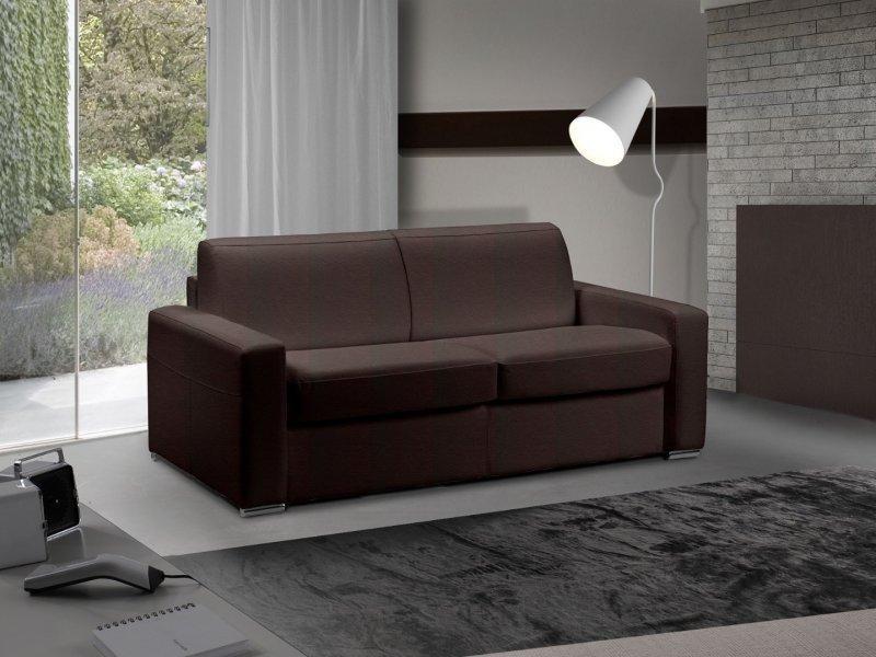 canape lit 2 3 places master convertible ouverture rapido 120 cm cuir marron matelas 18 cm inclus. Black Bedroom Furniture Sets. Home Design Ideas