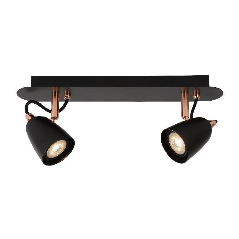 Ride led barre 2 spots orientables m tal noir cuivre - Barre de spot design ...