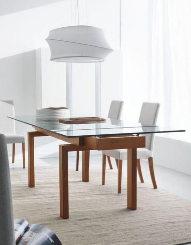 calligaris table repas extensible hyper 160x99 en verre pietement noyer. Black Bedroom Furniture Sets. Home Design Ideas