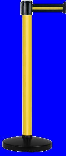 Poteau Alu Jaune laqué à sangle Noir/Jaune 4m x 50mm sur socle portable - 2052054