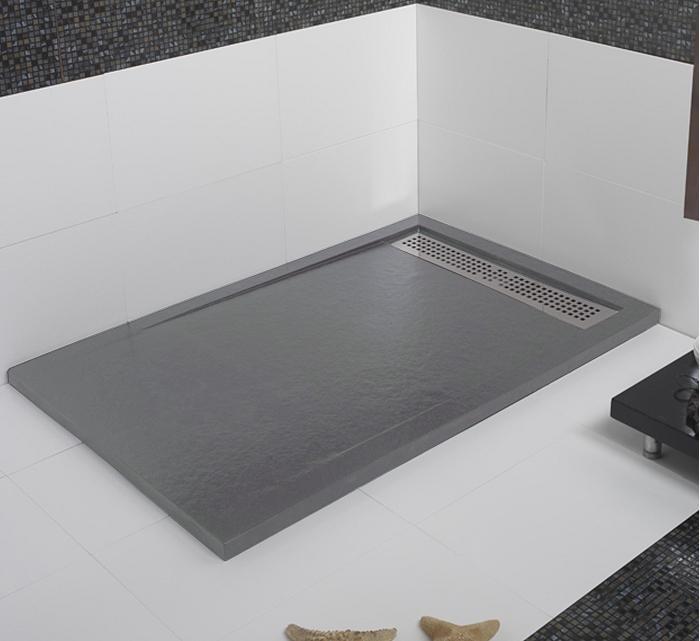 Receveur de douche coulement lin aire androm de ciment 80x110 for Receveur de douche couleur