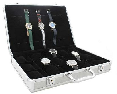 coffret valise de rangement pour montres. Black Bedroom Furniture Sets. Home Design Ideas