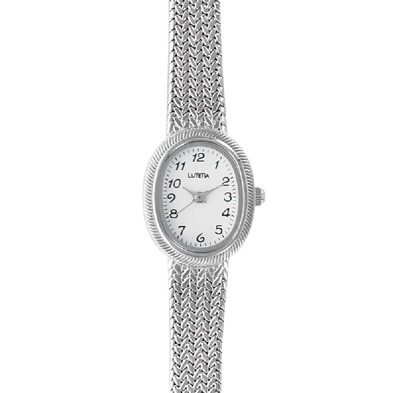 Montre lutetia métal couleur argent chiffres arabes et bracelet style tressé