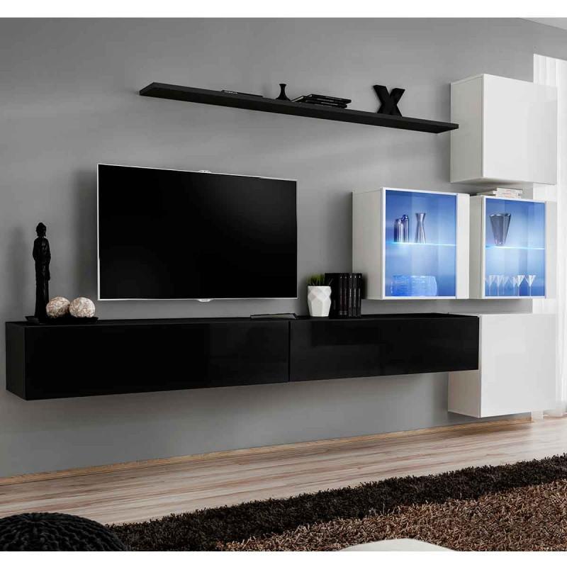 Meuble tv mural design switch xix 310cm noir & blanc - paris prix