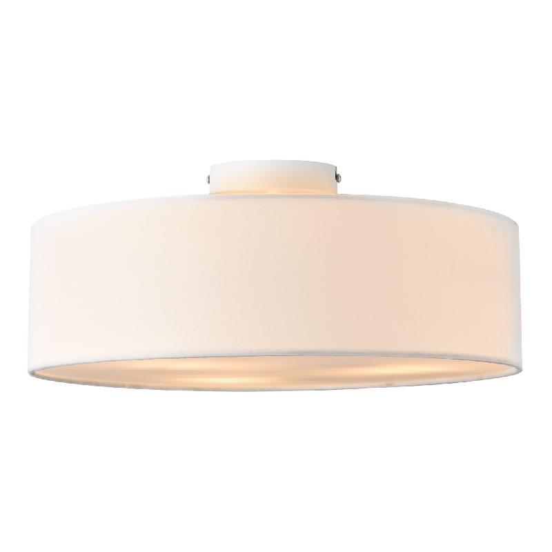 Plafonnier lampe de plafond 3 douille textile diamètre de 45 cm blanc 03_0005932