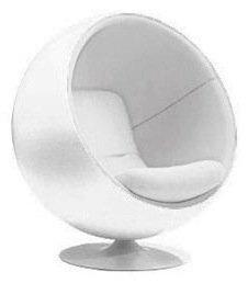 Fauteuil Boule Ball Chair Coque Blanche Interieur Blanc Design S - Fauteuil boule design