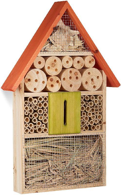 Hôtel à insectes à suspendre maison à papillon bois jardin balcon abeilles coccinelles orange 13_0001304