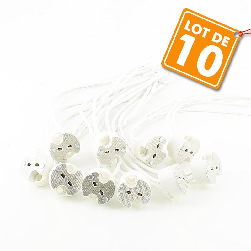 Lot de 10 Douilles en céramique GU10 avec connectique automatiques.