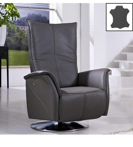 premium fauteuil relax electrique sans fil cuir vachette gris. Black Bedroom Furniture Sets. Home Design Ideas
