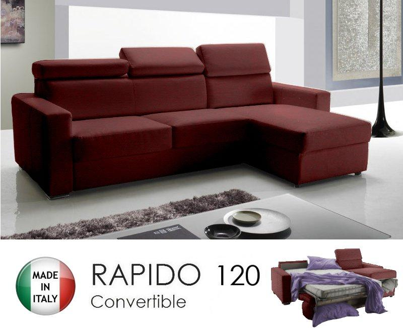 Canapé d angle réversible rapido sidney 120 cm + coffre. têtières  réglables. tissu microfibre bordeaux 7c0c213c4df1