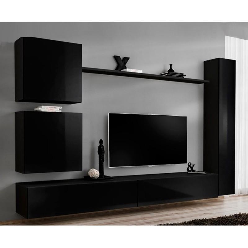 Meuble tv mural design switch viii 280cm noir - paris prix 139c4d876a61