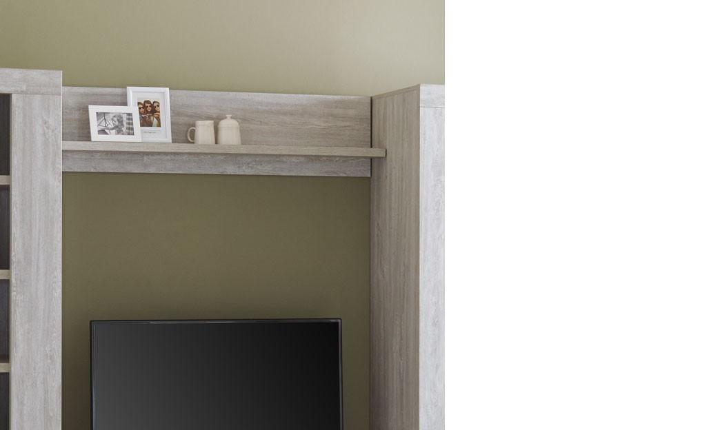 etag re murale de salon contemporaine couleur ch ne gris. Black Bedroom Furniture Sets. Home Design Ideas