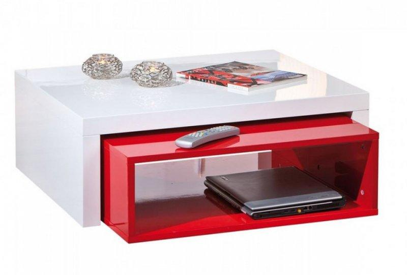 table basse modulable design zola blanche et rouge. Black Bedroom Furniture Sets. Home Design Ideas