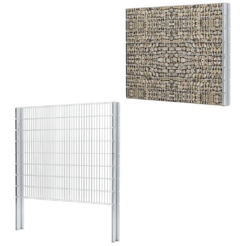 Vidaxl clôture gabion 2d acier galvanisé 2,008x1,63m 14m total argenté