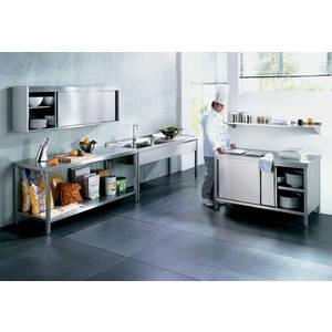 Table armoire materiau acier nickel chrome 100 0 cm x 70 for Table cuisine 70 x 100