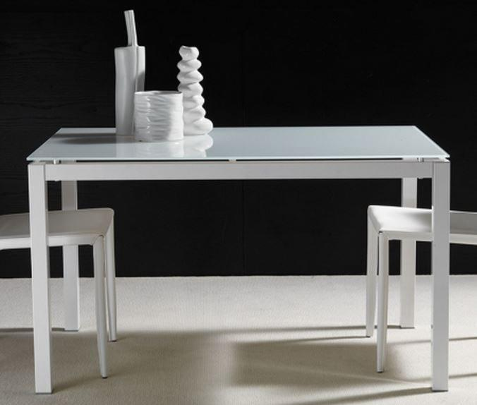 Table repas extensible majestic 130 x 80 cm en verre blanc for Table extensible en largeur