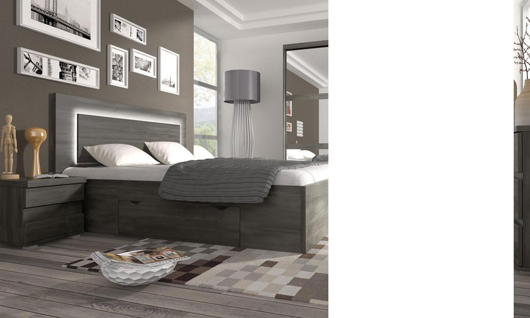 Chambre adulte complete couleur chene noir contemporaine for Chambre adulte contemporaine