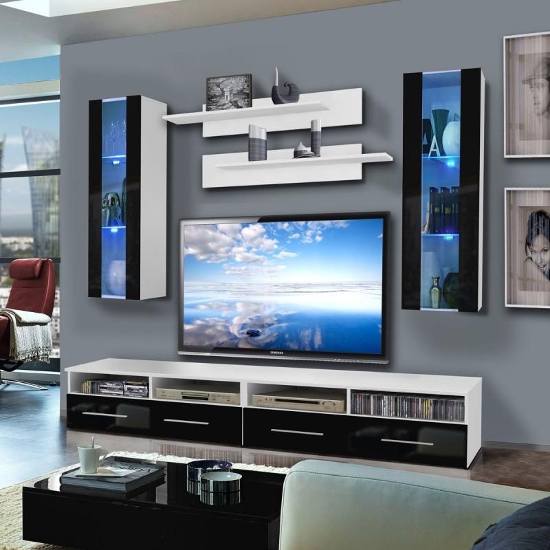 Meuble tv mural clevo ii twin 240cm noir & blanc - paris prix