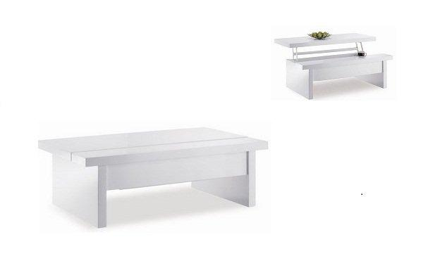 table basse modulable brunch blanc brillant plateau relevable. Black Bedroom Furniture Sets. Home Design Ideas