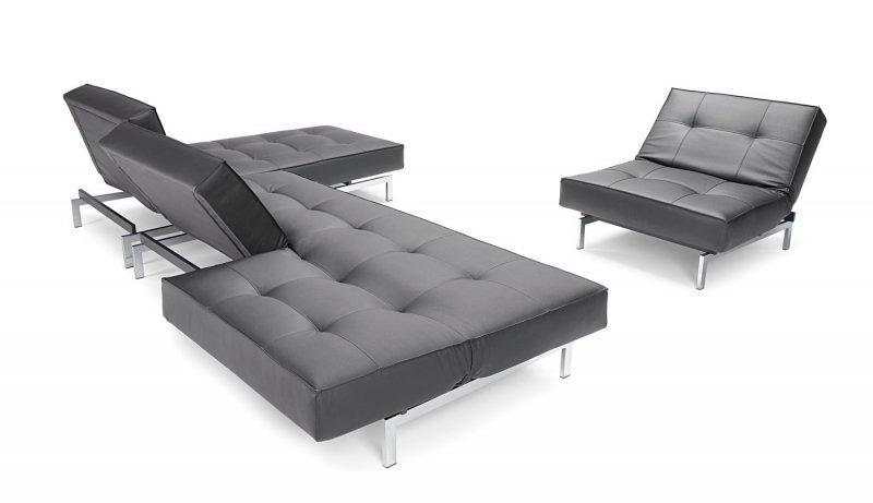innovation living ensemble canape avec pouf splitback design convertible lit 200 310 cm. Black Bedroom Furniture Sets. Home Design Ideas