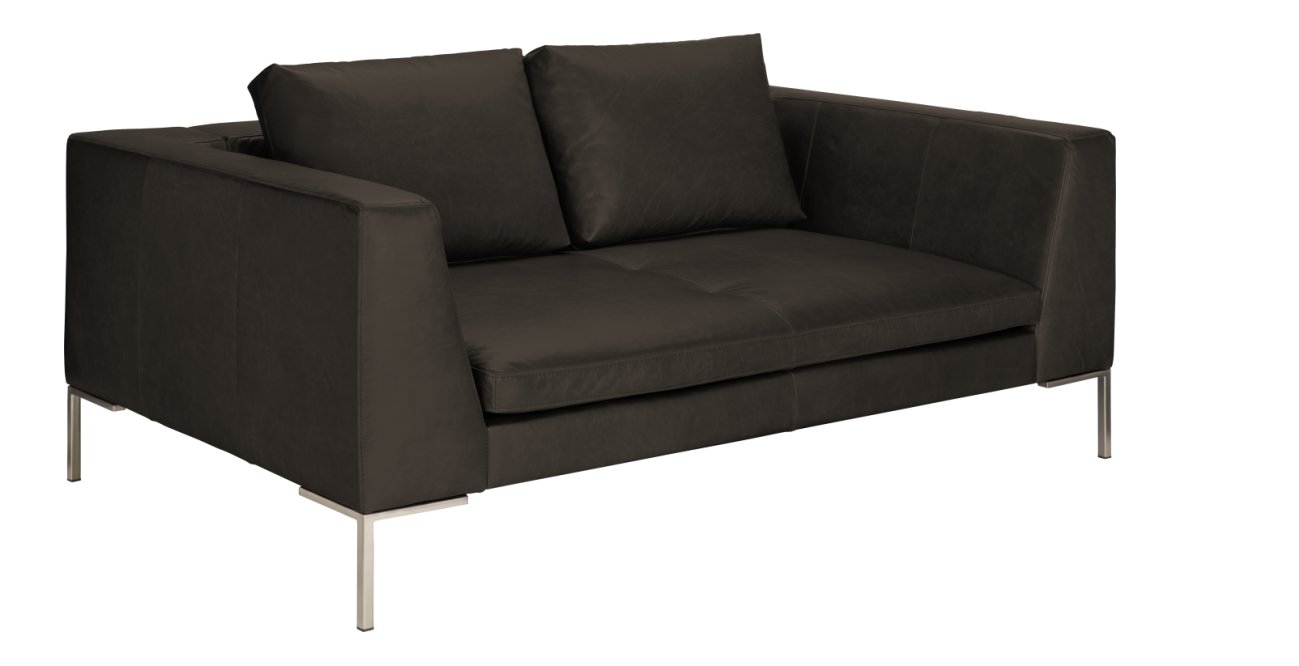 montino canape 2 places en cuir aniline taupe. Black Bedroom Furniture Sets. Home Design Ideas