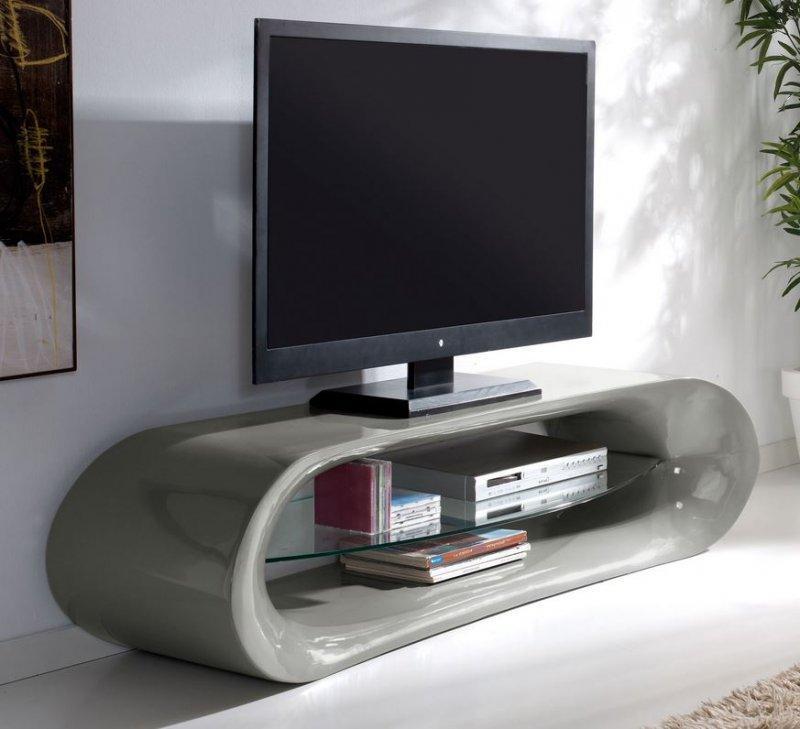 meuble tv design kana en fibre de verre gris brillant et une tagre en verre tremp - Meuble Tv Design Blanc Et Gris