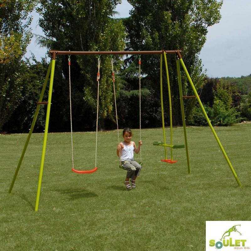balancoire de jardin pour enfants 3 agr s portique en acier soulet comparer les prix de. Black Bedroom Furniture Sets. Home Design Ideas
