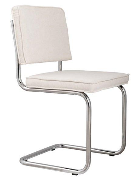 Chaise zuiver ridge rib tissu coloris blanc avec cadre brosse for Chaise zuiver