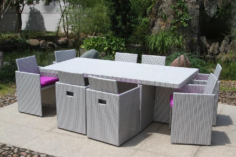 Salon de jardin en r sine tress e avec 8 fauteuils encastrables m diterran e - Salon jardin resine gris ...