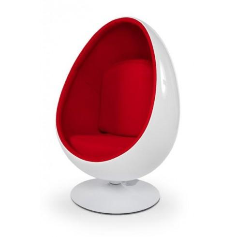 FAUTEUIL DESIGN OEUF COCOON BLANC/ROUGE