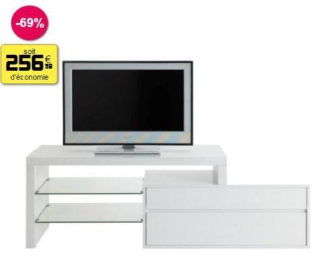Meuble télé blanc plateau verre trempé 170 x 43 x 57 cm