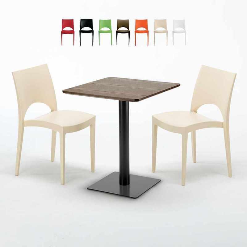 GRAND SOLEIL - TABLE CARRÉE 60X60 PIED NOIR ET PLATEAU BOIS AVEC 2 CHAISES COLORÉES PARIS KISS | BEIGE