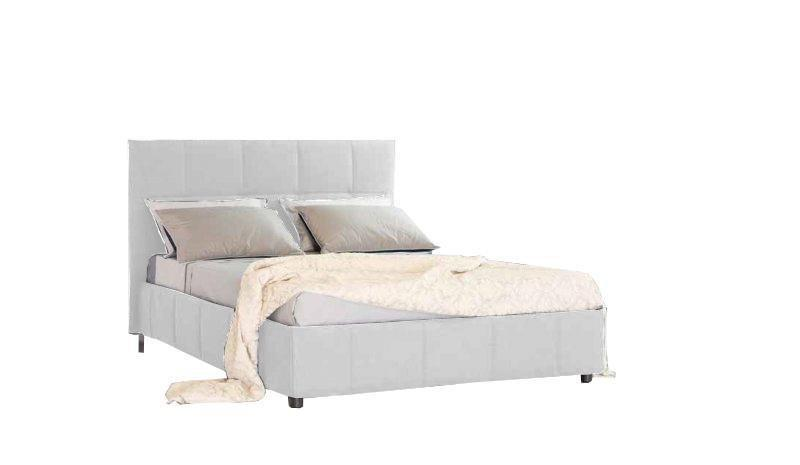 lit coffre design romeo couchage 140 190cm tete de lit capitonnee tissu enduit blanc facon cuir. Black Bedroom Furniture Sets. Home Design Ideas