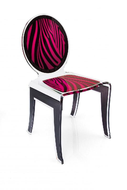 wild chaise design en plexi zebree noir rose par acrila. Black Bedroom Furniture Sets. Home Design Ideas
