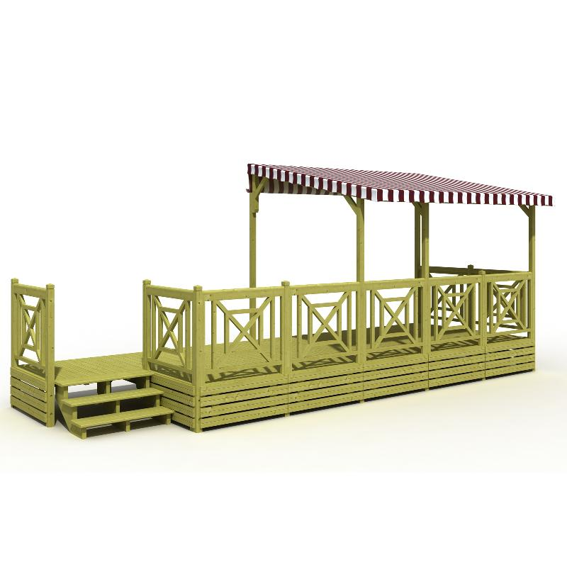 terrasse mobil home bois avec sas et bache de toit pvc semi couverte deckit. Black Bedroom Furniture Sets. Home Design Ideas