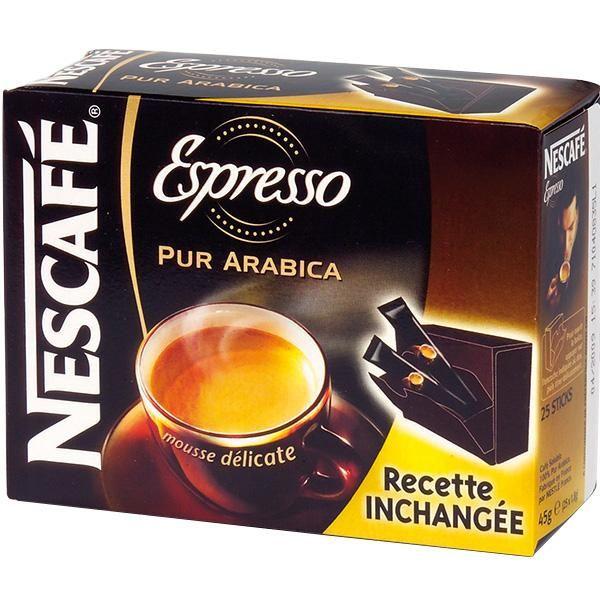 CAFÉ SOLUBLE EN DOSES NESCAFE - STICK CAFÉ PURE ARAB.ESPRES.1,8G BTE 25