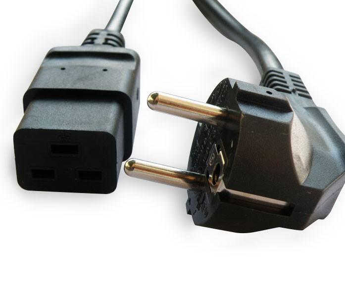 Cordon d'alimentation secteur avec connecteur - iec19/c19 - schuko - noir - 2.5m