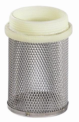 CRÉPINE SEULE (SANS CLAPET) - FILETAGE PLASTIQUE MAILLE INOX - RACCORD 20/27
